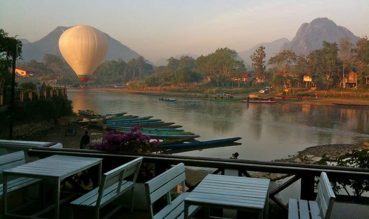 Take a hot air balloon ride in Vang Vieng
