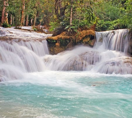 Half Day Tad Sae Waterfall and Elephant Riding Tour in Laos