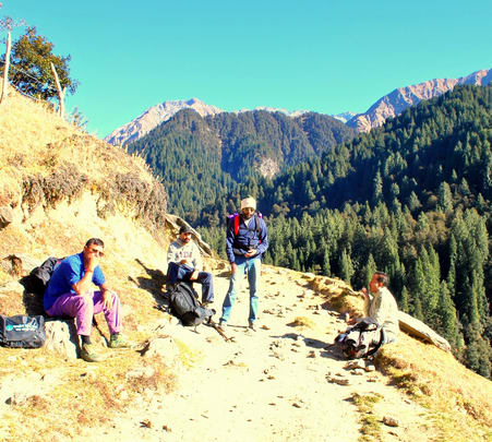 Trekking to Waterfalls in Barot