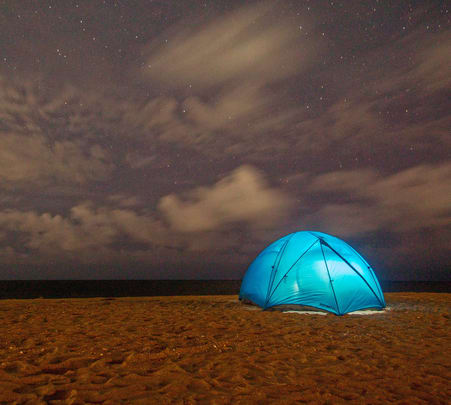 Camping on the Kovalam Beach, Chennai