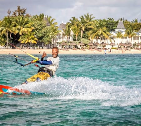 Kite Surfing at Belle Mare in Mauritius