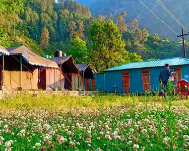 Riverside Camping with a Mountain View, Tirthan Valley