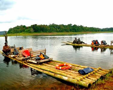 Bamboo Rafting in Kuruva Island in Wayanad