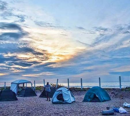 Beach Camping with Campfire in Mahabalipuram, Chennai
