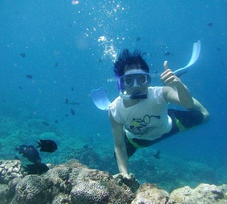 Snorkelling at Bogmalo beach in Goa