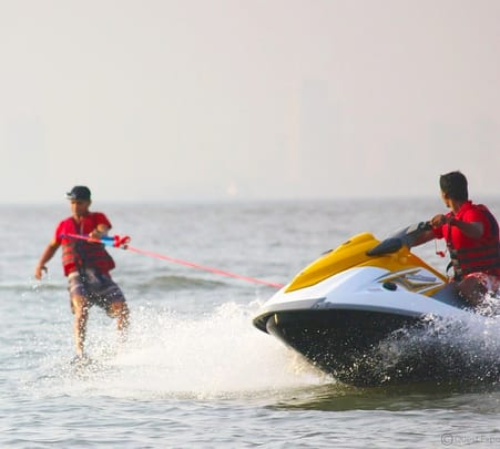 Wake-boarding at Mandwa Beach near Mumbai