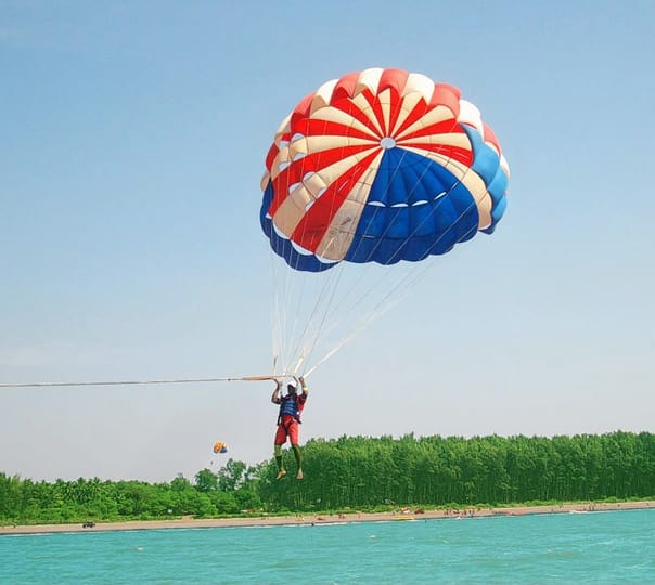 Parasailing at Nagaon Beach in Alibaug
