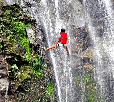 Waterfall Rappelling near Kundalika River