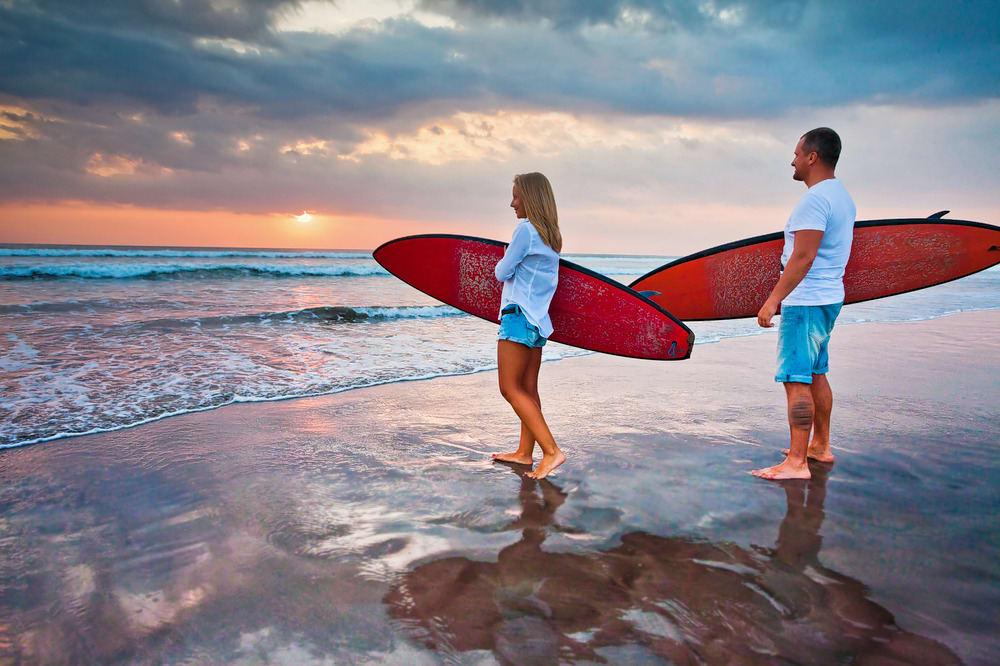 Surfing at Kuta