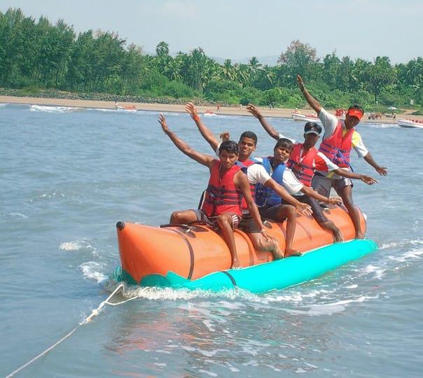 Banana Boat Ride at Nagaon Beach in Alibaug