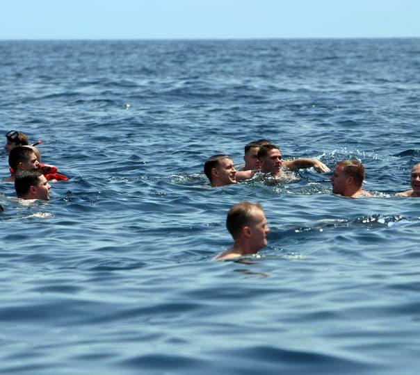 Swimming from Baina to Pequeno Island in Goa