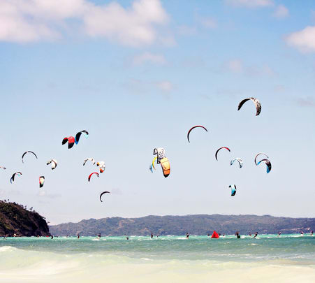 Kiteboarding at Little Palm Beach in Hong Kong
