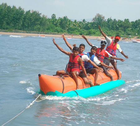 Banana Boat Ride at Nagaon Beach in Alibaug